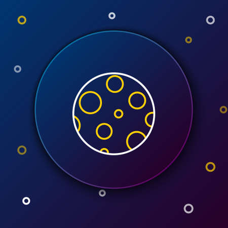 Line Moon icon isolated on blue background. Colorful outline concept. Vector