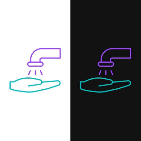 Line Washing hands with soap icon isolated on white and black background. Washing hands with soap to prevent virus and bacteria. Colorful outline concept. Vector