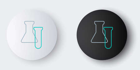 Line Test tube and flask icon isolated on grey background. Chemical laboratory test. Laboratory glassware. Colorful outline concept. Vector
