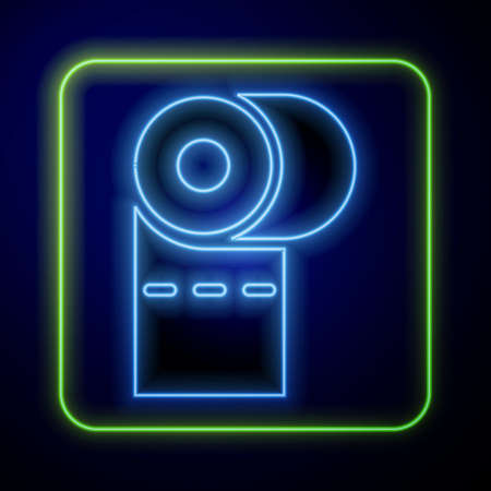 Glowing neon Toilet paper roll icon isolated on blue background. Vector Illustration