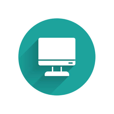 White Computer monitor screen icon isolated with long shadow. Electronic device. Front view. Green circle button. Vector Illustration