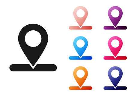 Black Map pin icon isolated on white background. Navigation, pointer, location, map, gps, direction, place, compass, search concept. Set icons colorful. Vector