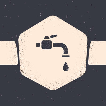 Grunge Water tap icon isolated on grey background. Monochrome vintage drawing. Vector Illustration Ilustracja