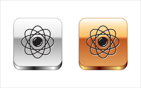 Black Atom icon isolated on white background. Symbol of science, education, nuclear physics, scientific research. Silver-gold square button. Vector