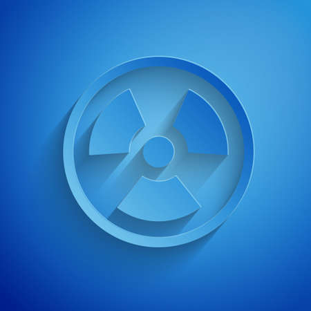Paper cut Radioactive icon isolated on blue background. Radioactive toxic symbol. Radiation Hazard sign. Paper art style. Vector