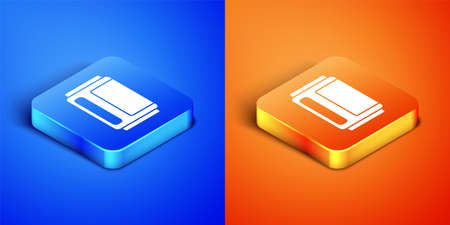 Isometric Beer can icon isolated on blue and orange background. Square button. Vector