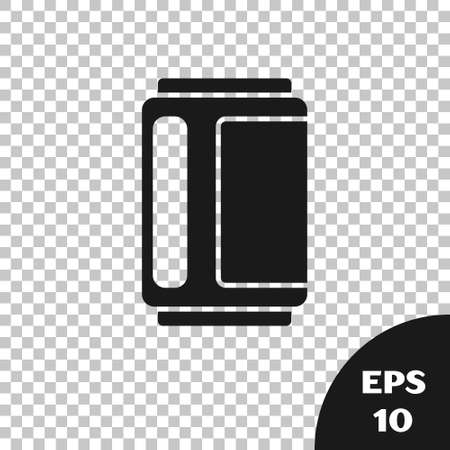 Black Beer can icon isolated on transparent background. Vector Ilustracja