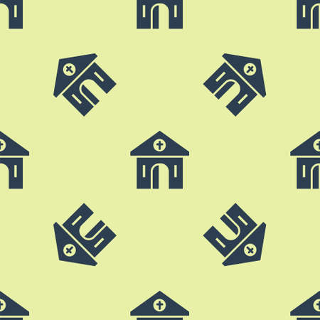 Blue Church building icon isolated seamless pattern on yellow background. Christian Church. Religion of church. Vector