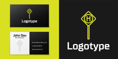 Logotype line Parking icon isolated on black background. Street road sign.