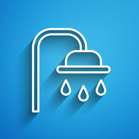 White line Shower head with water drops flowing icon isolated on blue background. Long shadow. Vector Illustration