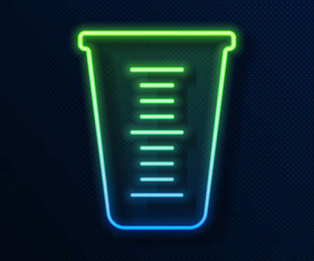 Glowing neon line Measuring cup to measure dry and liquid food icon isolated on blue background. Plastic graduated beaker with handle. Vector