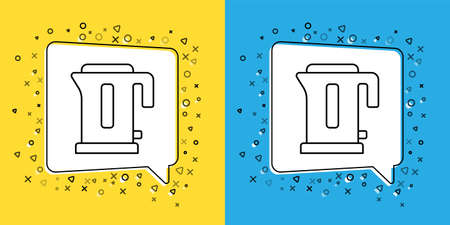 Set line Electric kettle icon isolated on yellow and blue background. Teapot icon. Vector