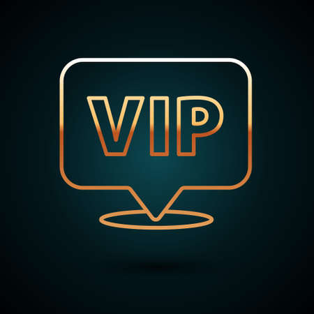 Gold line Location Vip icon isolated on dark blue background. Vector