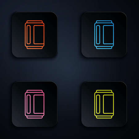 Color neon line Beer can icon isolated on black background. Set icons in square buttons. Vector Ilustracja