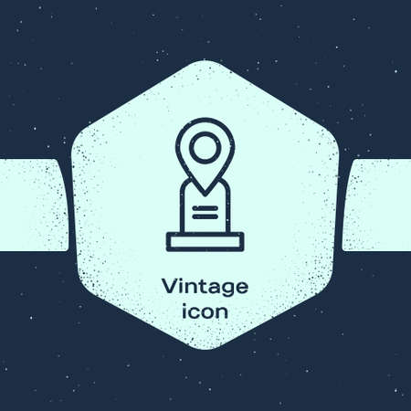 Grunge line Location grave icon isolated on blue background. Monochrome vintage drawing. Vector Ilustrace