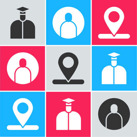 Set Student, Create account screen and Location icon. Vector Ilustrace