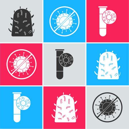 Set Rabies virus, Stop virus and Test tube with virus icon. Vector Illustration