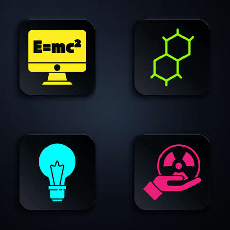 Set Radioactive, Equation solution, Light bulb with concept of idea and Chemical formula. Black square button. Vector