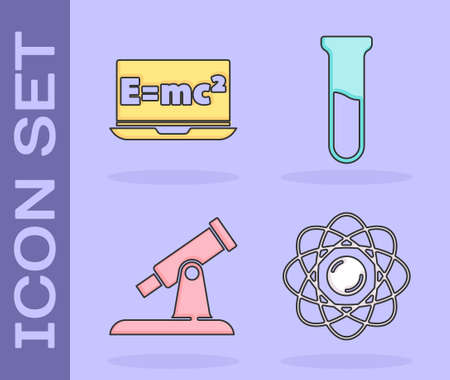 Set Atom, Equation solution, Telescope and Test tube and flask icon. Vector