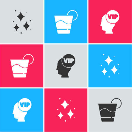 Set Firework, Cocktail and Vip inside head icon. Vector