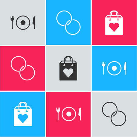 Set Plate, fork and knife, Wedding rings and Shopping bag with heart icon. Vector Illustration