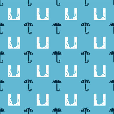 Set Umbrella and Cemetery digged grave hole on seamless pattern. Vector Ilustracja