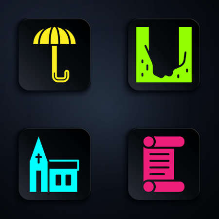Set Decree, parchment, scroll, Umbrella, Church building and Cemetery digged grave hole. Black square button. Vector