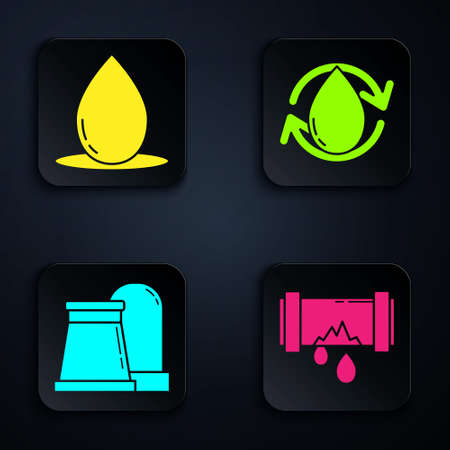 Set Broken metal pipe with leaking water, Oil drop, Oil and gas industrial factory building and Oil drop. Black square button. Vector