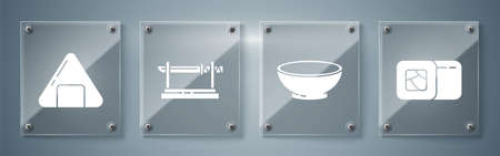 Set Sushi, Bowl of hot soup, Traditional Japanese katana and Sushi. Square glass panels. Vector Vettoriali