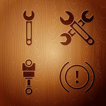 Set Brake system warning, Wrench, Engine piston and Wrench on wooden background. Vector Illustration