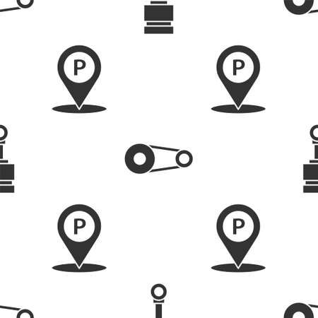 Set Engine piston, Timing belt kit and Location with parking on seamless pattern. Vector