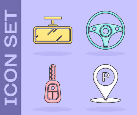Set Location with parking, Car mirror, Car key with remote and Steering wheel icon. Vector