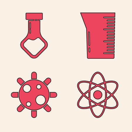 Set Atom, Test tube and flask chemical, Laboratory glassware or beaker and Bacteria icon. Vector 矢量图像