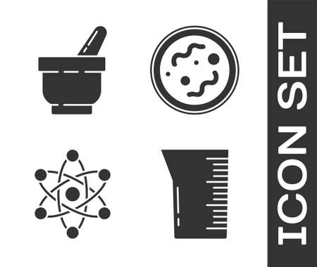 Set Laboratory glassware or beaker, Mortar and pestle, Atom and Bacteria icon. Vector 矢量图像