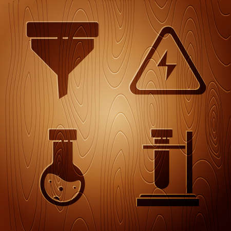 Set Test tube flask on stand, Funnel or filter, Test tube and flask chemical and High voltage sign on wooden background. Vector