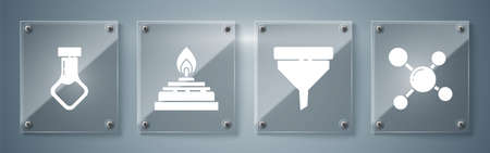 Set Molecule, Funnel or filter, Alcohol or spirit burner and Test tube and flask chemical. Square glass panels. Vector