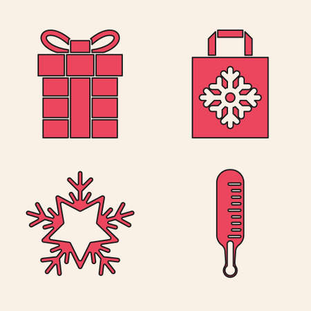 Set Meteorology thermometer measuring, Gift box, Christmas paper shopping bag and Snowflake icon. Vector