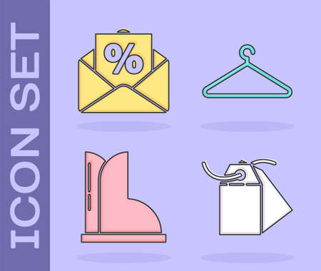 Set Blank label template price tag, Envelope with an interest discount, Waterproof rubber boot and Hanger wardrobe icon. Vector 向量圖像