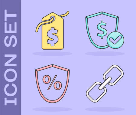 Set Chain link, Price tag with dollar, Loan percent and Shield with dollar icon. Vector