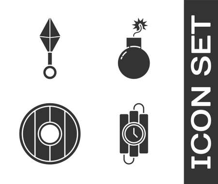 Set dynamite stick and timer clock, Japanese ninja shuriken, Round wooden shield and Bomb ready to explode icon. Vector