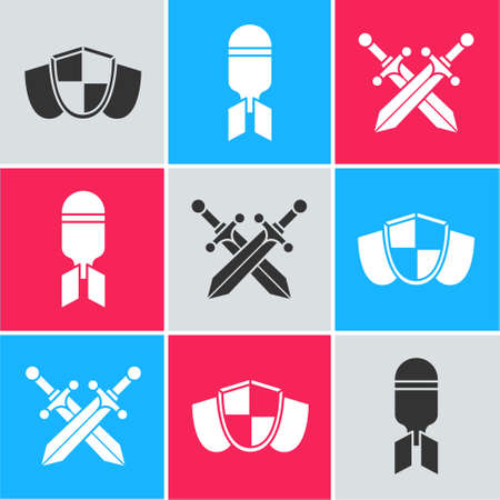 Set Shield, Aviation bomb and Crossed medieval sword icon. Vector