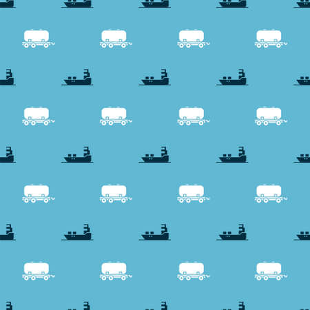 Set Oil tanker ship and Oil railway cistern on seamless pattern. Vector