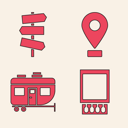 Set Open matchbox and matches, Road traffic signpost, Location and Rv Camping trailer icon. Vector