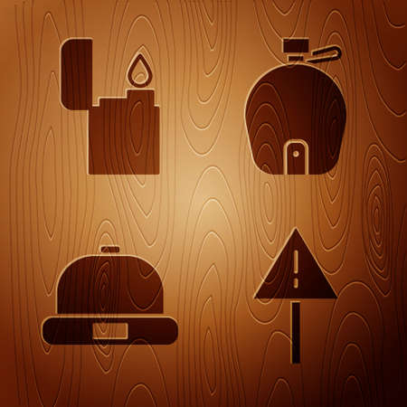 Set Exclamation mark in triangle, Lighter, Beanie hat and Canteen water bottle on wooden background. Vector.