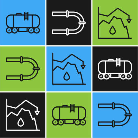 Set line Oil railway cistern, Drop in crude oil price and Industry pipe icon. Vector Ilustracja