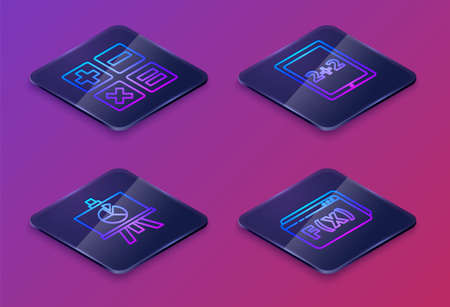 Set Isometric line Feather and inkwell, XYZ Coordinate system, Calculation and Geometric figure Pentagonal prism. Blue square button. Vector