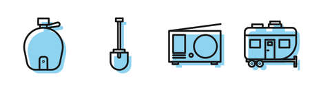 Set line Radio with antenna, Canteen water bottle, Shovel and Rv Camping trailer icon. Vector Ilustracja