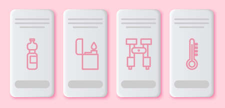 Set line Bottle of water, Lighter, Binoculars and Meteorology thermometer. White rectangle button. Vector Ilustracja