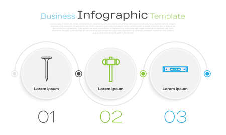 Set line Metallic nail, Sledgehammer and Construction bubble level. Business infographic template. Vector Ilustracja