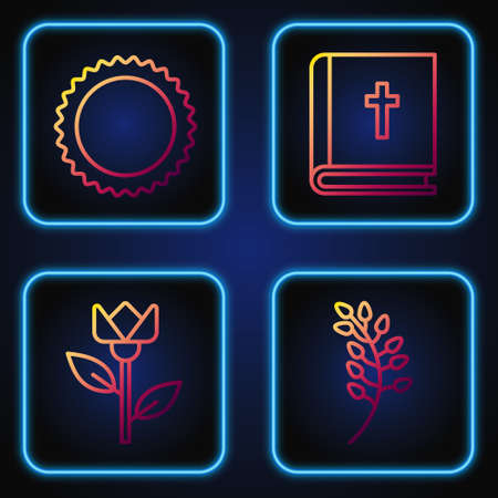 Set line Willow leaf, Flower tulip, Sun and Holy bible book. Gradient color icons. Vector